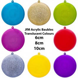 JfM Coloured Transluent Acrylic Baubles