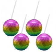 Rainbow Disco Drinking Ball Cups
