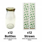 Unowall Set of 12 Milk Bottles with Gold Lids & Holes with 12x Straws (2x JM-STRAW-1006 - White with Green Shamrocks)