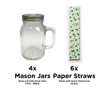 Unowall Set of 4 Mason Jars with Silver Lids & Straw Holes - with Set of 6 Straws - White with Green Shamrocks (JM-STRAW-1006)