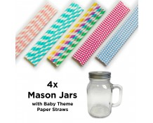 Mason Jars with Baby Theme Straws