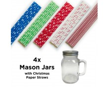 Mason Jars with Christmas Straws