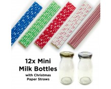 Mini Milk Bottles with Christmas Straws