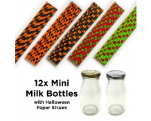 Mini Milk Bottles with Halloween Straws