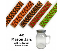 Mason Jars with Halloween Straws