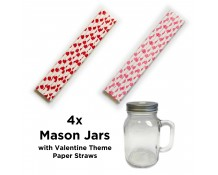 Mason Jars with Valentine Theme Straws