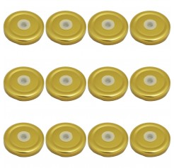 Pack of 12 Unowall Gold Milk Bottle Lid with Hole
