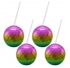 Rainbow Disco Drinking Ball Cups