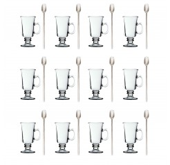 Unowall 12x Venezia Latte Glass with 12x Silver Latte Spoons