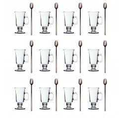 Unowall 12x Venezia Glasses with 12x Black Spoons