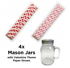 Mason Jars with Valentine Theme Straws
