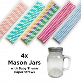Mason Jars with Baby Theme Straws