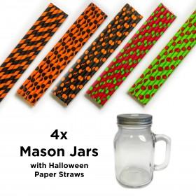 Mason Jars with Halloween Straws