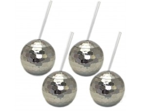 Silver Disco Drinking Ball Cups